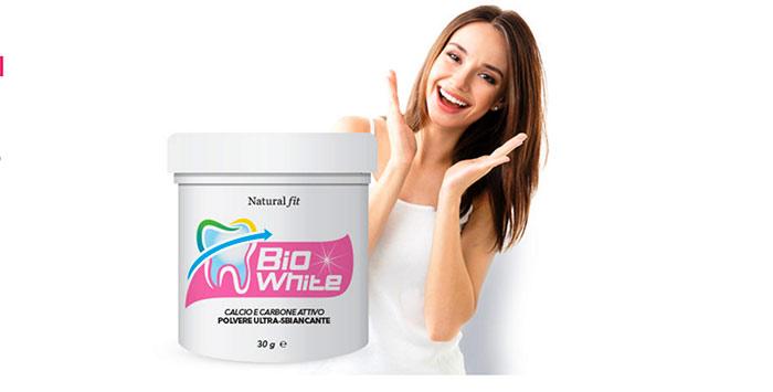 Bio White Natural Fit: Sbiancante Denti Calcio e Carbone Attivo